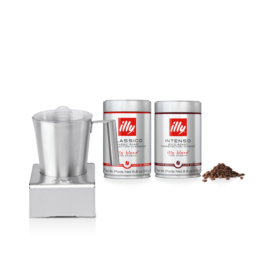illy Malaysia Milk Frother Bundle with 2 cans Whole Beans