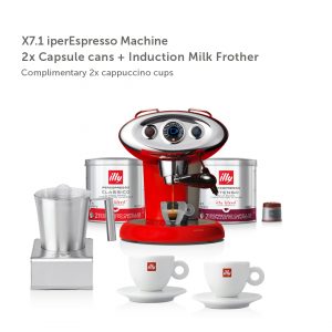 illy malaysia coffee machine x7.1 Red with 2 Capsule Cans + illy Milk Frother + 2 Cappuccino Cups - Father's Day