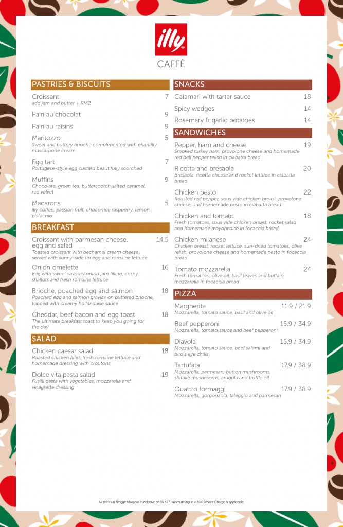 illy Caffe Pavilion Malaysia Menu 1/07/2021 - Pastries - Sandwiches - Breakfast - Pizza