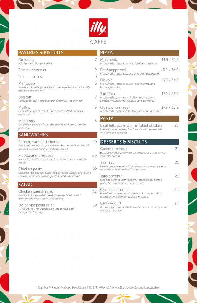 illy Caffe Naza Platinum Park Malaysia Menu 22/07/2021 - Food - Pastries - Sandwiches - Pizza
