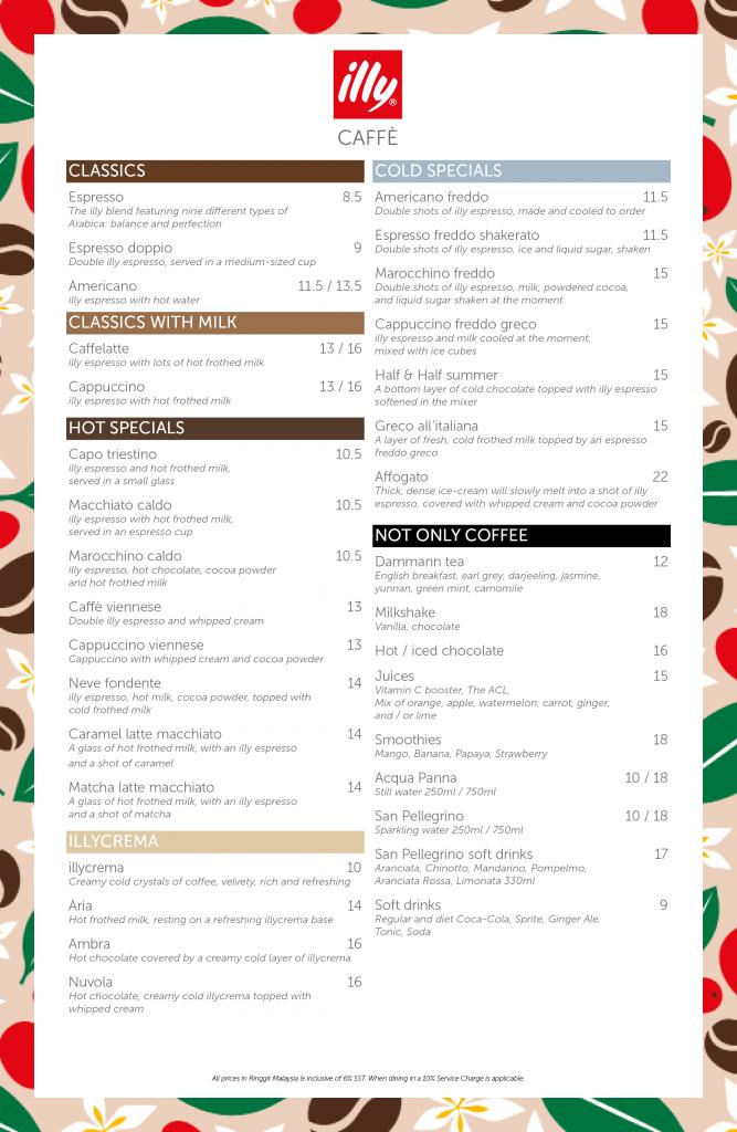 illy Caffe Pavilion Malaysia Menu 1/07/2021 - Coffees - Drinks