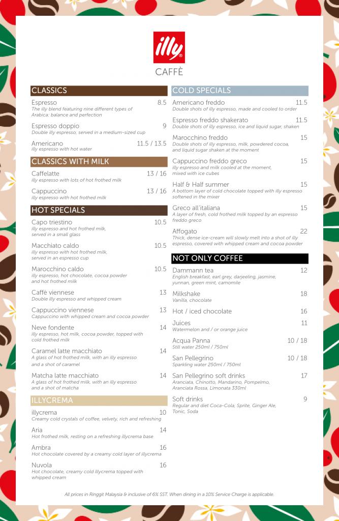 illy Caffe Naza Platinum Park Malaysia Menu 27/08/2021 - Coffees - Drinks