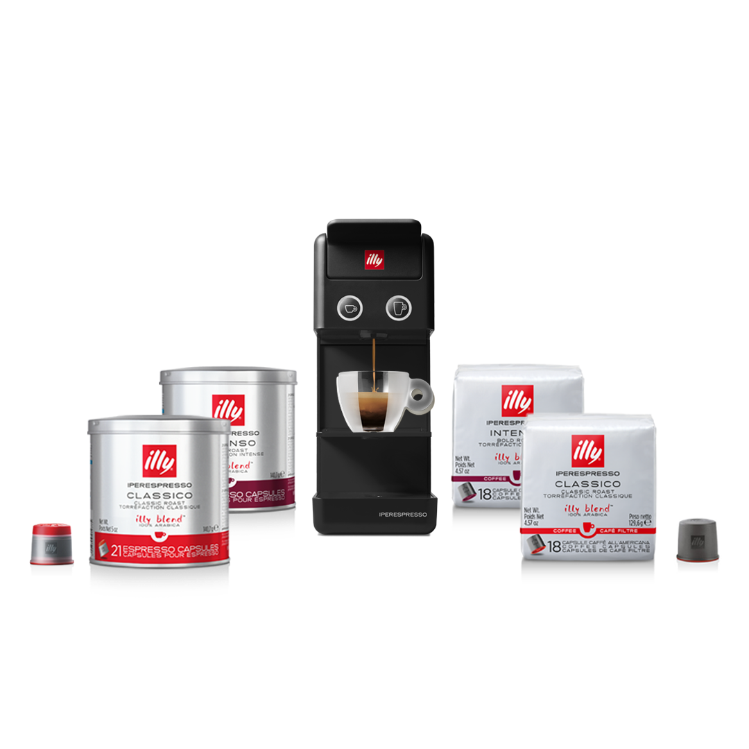 illy Malaysia Black Y3.3 Coffee Machine Bundle Offer 9.9 - includes 4 packs of capsules