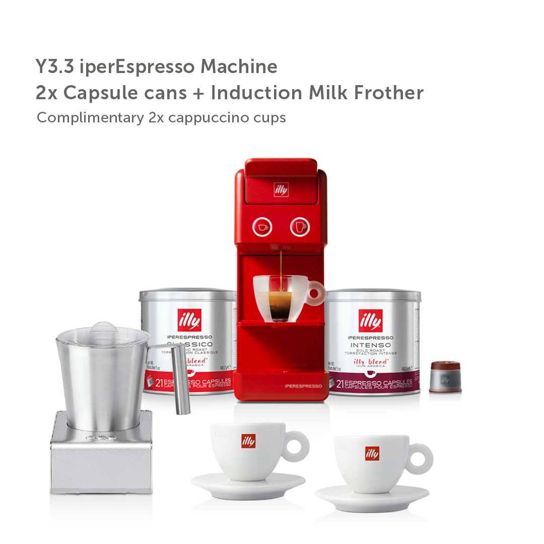 illy Malaysia IKO Choice Discovery Y3.3 Red Frother Bundle including 2 cans of capsule coffee and 2 cappuccino cups and induction milk frother