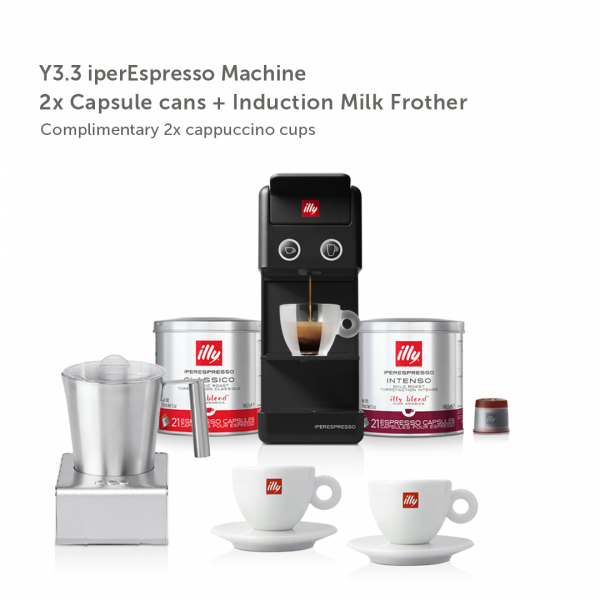 illy Malaysia IKO Choice Discovery Y3.3 Black Frother Bundle including 2 cans of capsule coffee and 2 cappuccino cups and induction milk frother