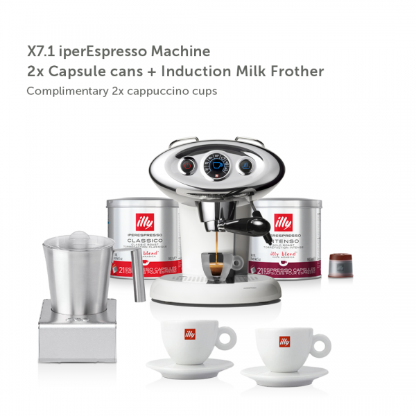 illy Malaysia IKO Choice Luxury X7.1 White Frother Bundle including 2 cans of capsule coffee and 2 cappuccino cups and induction milk frother