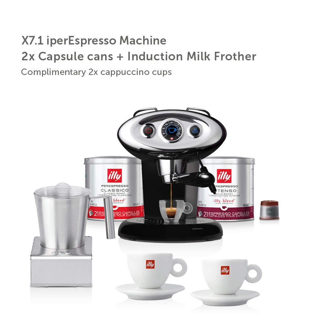 illy Malaysia IKO Choice Luxury X7.1 Black Frother Bundle including 2 cans of capsule coffee and 2 cappuccino cups and induction milk frother