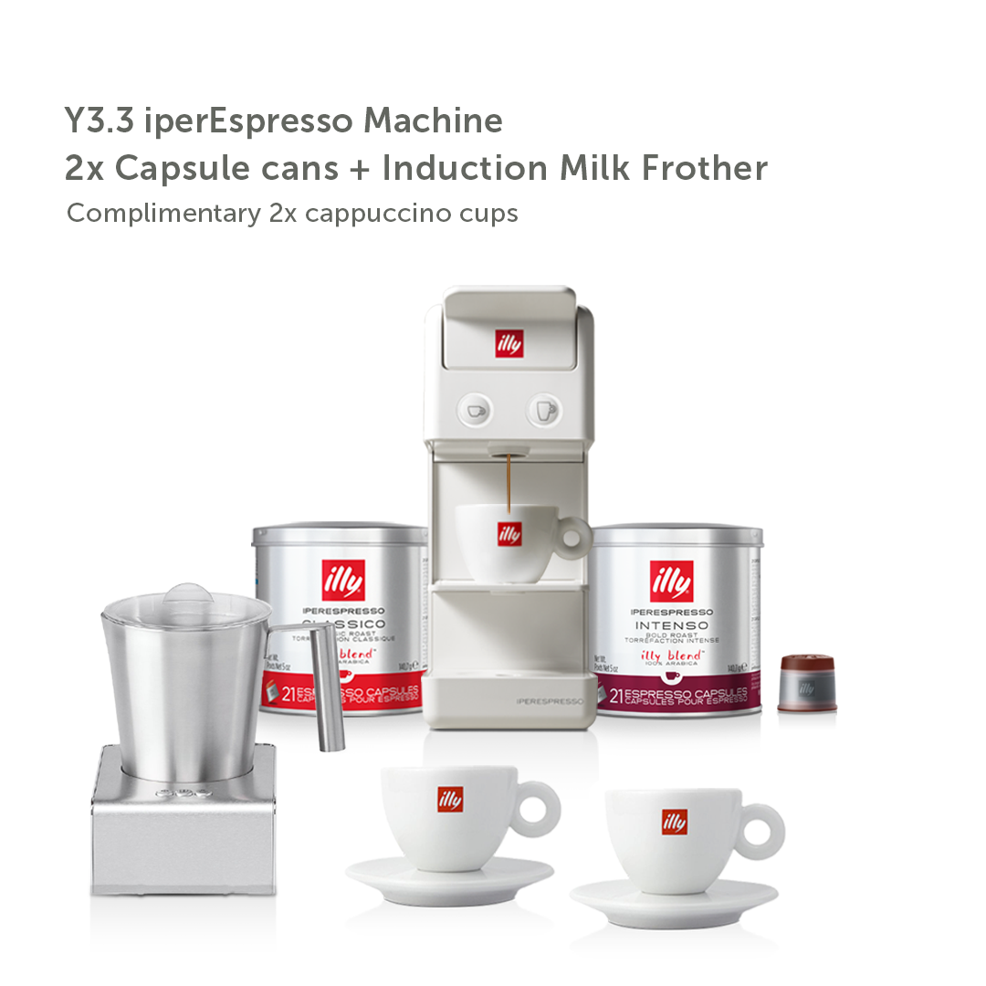 illy Malaysia IKO Choice Discovery Y3.3 White Frother Bundle including 2 cans of capsule coffee and 2 cappuccino cups and induction milk frother