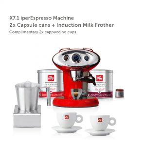 illy Malaysia IKO Choice Luxury X7.1 Red Frother Bundle including 2 cans of capsule coffee and 2 cappuccino cups and induction milk frother