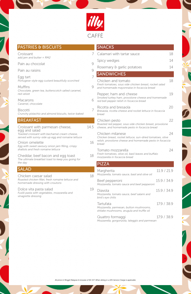 illy Caffe Pavilion Malaysia Menu 15/09/2021 Pastries Sandwiches Breakfast Pizza