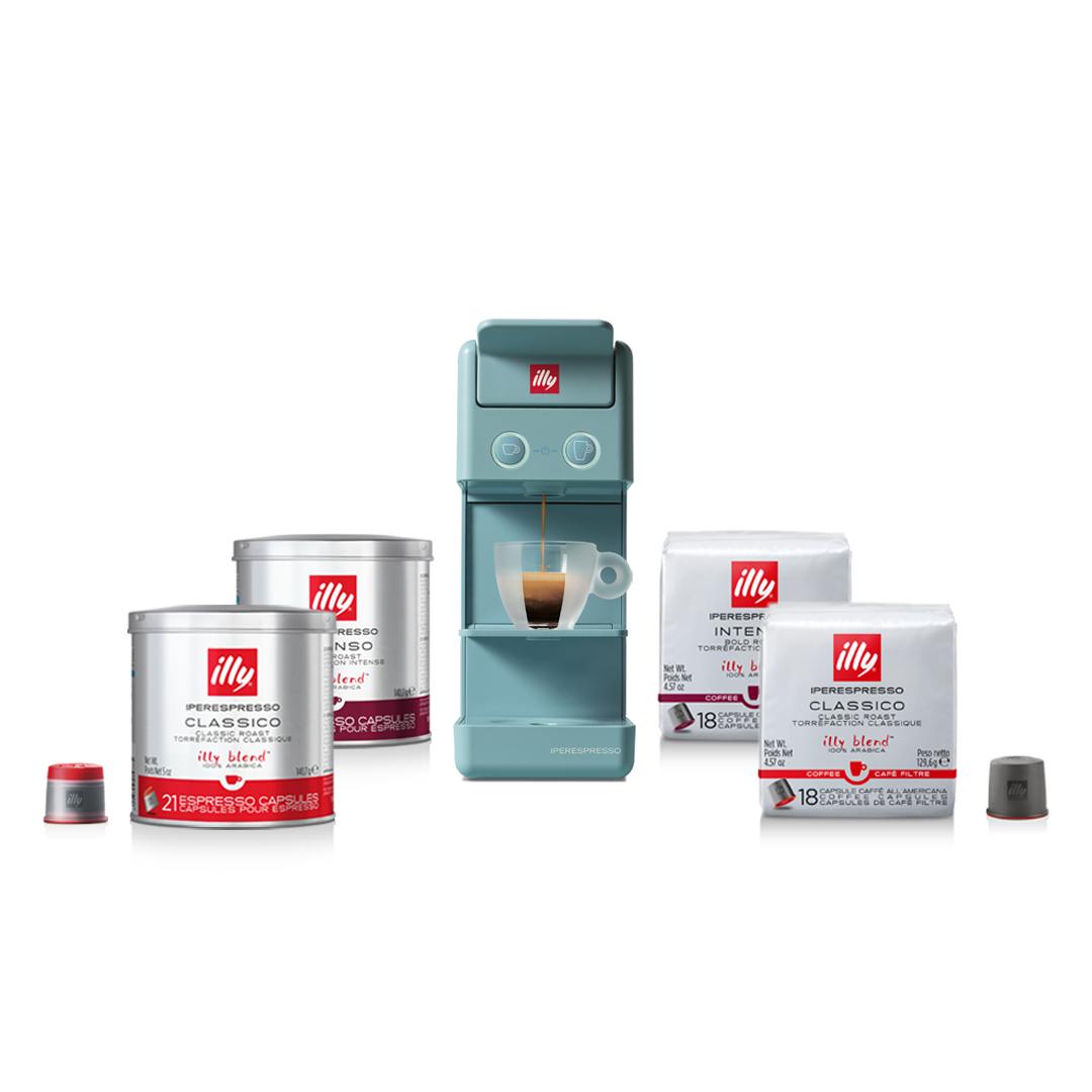 illy Malaysia Amalfi Blue Y3.3 Coffee Machine Bundle Offer 9.9 - includes 4 packs of capsules