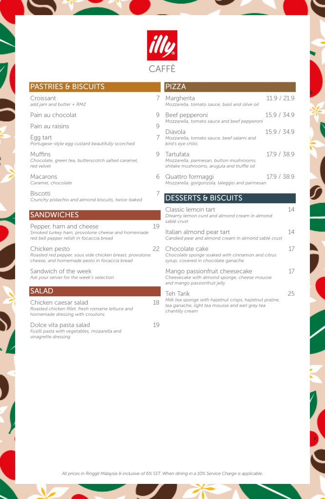 illy Caffe Naza Platinum Park Malaysia Menu 01/10/2021 - Food - Pastries - Sandwiches - Pizza
